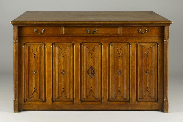 antique,gothic,neo,revival,library,plan chest,architect,sherborne school,pugin,cupboard